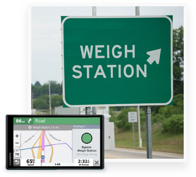 Weigh station ahead sign with Garmin device